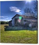 Barn With Sun Flare Canvas Print