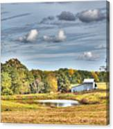 Barns And Pond On A Fall Day Canvas Print