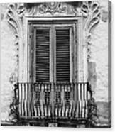Baroque Balcony Window. Messina, Sicily.    Black And White Canvas Print
