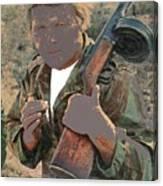 Barry Sadler With Machine Gun On His Shoulder Tucson Arizona 1971-2015 Canvas Print