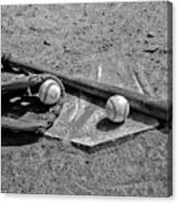 Baseball Game In Black And White Canvas Print