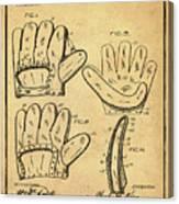 Baseball Glove Patent 1910 Sepia With Border Canvas Print
