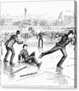 Baseball On Ice, 1884 Canvas Print