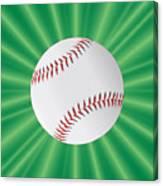 Baseball Over Green Canvas Print