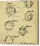 Baseball Training Device Patent 1961 Sepia Canvas Print
