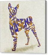 Basenji Dog Watercolor Painting / Typographic Art Canvas Print