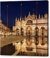 Basilica San Marco Reflections At Night - Venice, Italy Canvas Print