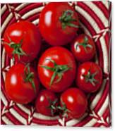Basket Full Of Red Tomatoes  Canvas Print