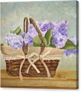 Basket Of Lilacs Canvas Print