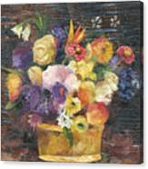 Basket with Flowers Canvas Print