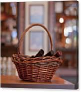 Basket With Wine Bottles Canvas Print