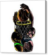 Basketball Player Dunking Blocking Ball Tattoo Canvas Print