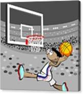 Basketball Player Jumping And Flying To Shoot The Ball In The Hoop Canvas Print