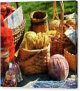 Baskets Of Yarn At Flea Market Canvas Print