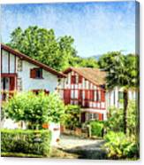 Basque Houses In Ainhoa 2- Vintage Version Canvas Print