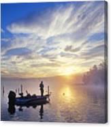 Bass Fisherman At Dawn, Oregon Cascades Canvas Print