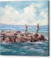 Bass Fishing Off Newport Canvas Print