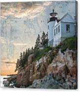 Bass Harbor Lighthouse On Maine Nautical Chart Canvas Print
