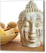 Bath Accessories With Buddha Statue Canvas Print