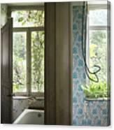 Bath Room Windows -urban Exploration Canvas Print