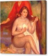 Bather And Maid The Toilet Canvas Print