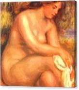 Bather Drying Her Leg Canvas Print