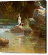 Bathers At The River. Evening In Orinoco? Canvas Print