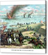 Battle Between The Monitor And Merrimac Canvas Print