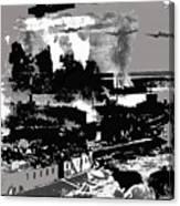 Battle Of Stalingrad Nazi Plane Crossing Volga River 1942 Canvas Print