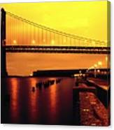 Bay Bridge Black And Orange Canvas Print