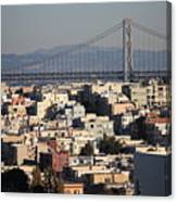 Bay Bridge With Houses And Hills Canvas Print
