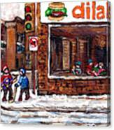 Scenes De Rue De Montreal St Henri Partie De Hockey En Hiver Hockey At Dilallo's Burger Canvas Print