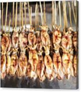 Bbq Asian Grilled Squid In Kep Market Cambodia Canvas Print