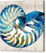 Beach Art - Nautilus Shell Bleu - Sharon Cummings Canvas Print