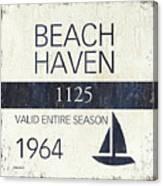 Beach Badge Beach Haven Canvas Print