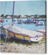 Beach Boat Under Cover Canvas Print