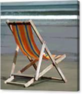 Beach Chair And Ocean Stripes Canvas Print