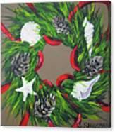 Beach Christmas Wreath Canvas Print