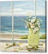 Beach Daisies In Yellow Vase Canvas Print