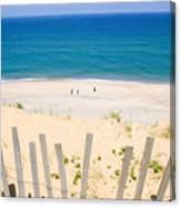 beach fence and ocean Cape Cod Canvas Print