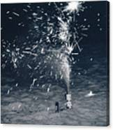 Beach Fire Works Canvas Print