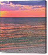 Beach Girl And Sunset Canvas Print