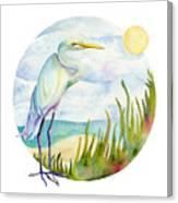 Beach Heron Canvas Print