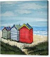 Beach Huts On The Sand Canvas Print