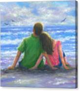 Beach Lovers Pink And Green Canvas Print