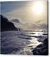 Beach - Oregon - Golden Sun Canvas Print