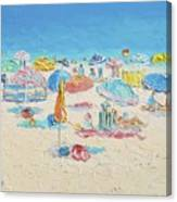 Beach Painting - Crowded Beach Canvas Print