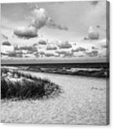 Beach Sunset Bw Canvas Print