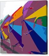Beach Umbrella Row Canvas Print