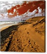 Beach Under A Blood Red Sky Canvas Print